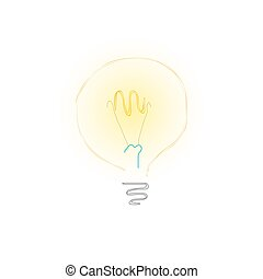 bulbo, bianco, sfondo giallo