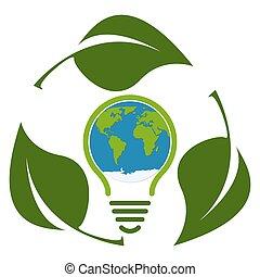 bulbo, eco, verde, concetto, luce, isolato, icona