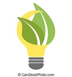 bulbo, eco, vettore, illustrazione, verde, disegno, luce