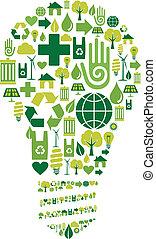 bulbo, verde, ambientale, icone