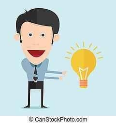 bulbo, vettore, idea, illustrazione, cartone animato