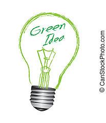 bulbo, vettore, verde, idea, luce