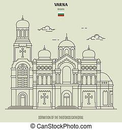 bulgaria., theotokos, dormition, punto di riferimento, cattedrale, varna, icona