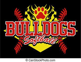 bulldog, disegno, softball