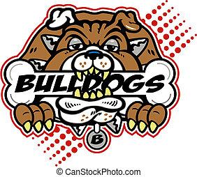 bulldog, enorme, osso
