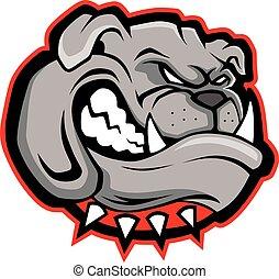 bulldog, testa, mascotte