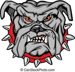 bulldog, vettore, cartone animato, faccia