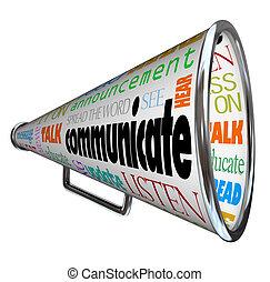 bullhorn, comunicare, megafono, spalmare, parola