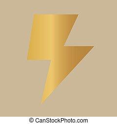 bullone, illuminazione, dorato, icon-, illustrazione, vettore