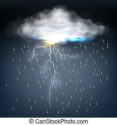 bullone, nuvola, lampo, pioggia