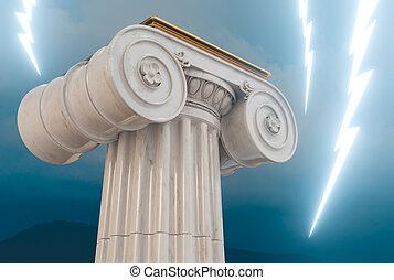 bulloni, illuminazione, colonna, greco, 3d, render