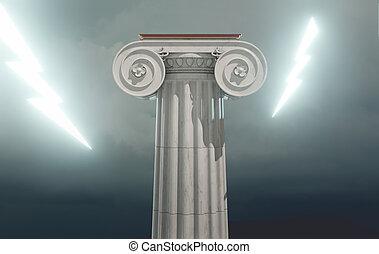 bulloni, illuminazione, colonna, greco, antico, 3d, render