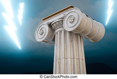 bulloni, illuminazione, greco, colonna, 3d, render