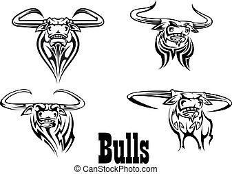 buls, tatuaggi, arrabbiato, s, mascotte