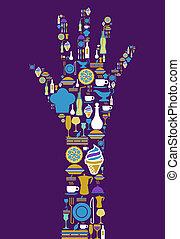buongustaio, icona, set, mano umana