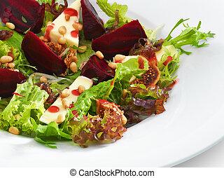 buongustaio, servito, fresco, isolato, vegetariano, barbabietola rossa, white., insalata, formaggio rotondo, cotto, piastra., bianco