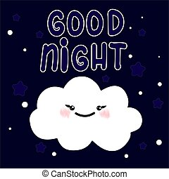 buono, card., dolce, astratto, illustrazione, vettore, notte, cloud., disegno, fare un sogno