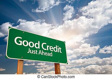 buono, nubi, segno, credito, verde, strada