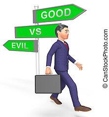 buono, onestà, -, male, segno, vs, morale, illustrazione, fra, differenza, odio, mostra, 3d