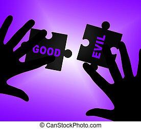 buono, onestà, -, male, vs, morale, illustrazione, parole, fra, differenza, odio, mostra, 3d
