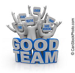 buono, persone, -, lavoro squadra, qualities, squadra