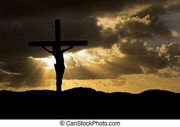 buono, silhouette, cristo, venerdì, gesù, crocifissione