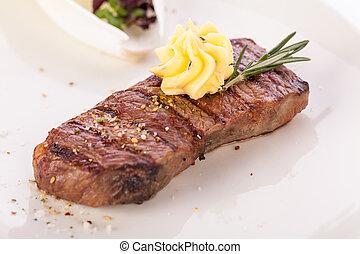 burro, manzo, superato, cotto ferri, bistecca, rosmarino
