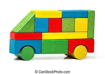 bus giocattolo, automobile legno, sopra, blocchi, multicolor, fondo, bianco, trasporto