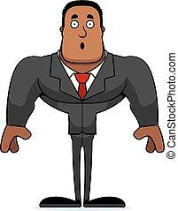 businessperson, cartone animato, sorpreso