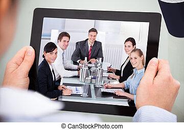 businessperson, tavoletta, digitale