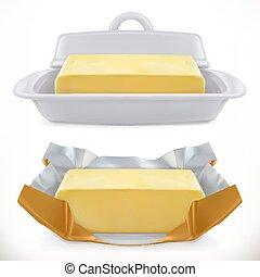 butter., realistico, vettore, 3d, icona