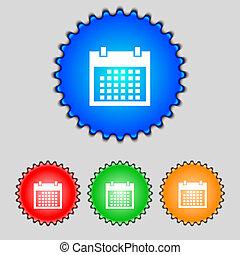 button., buttons., set, giorni, mese, vettore, icon., data, colur, segno, calendario, simbolo.