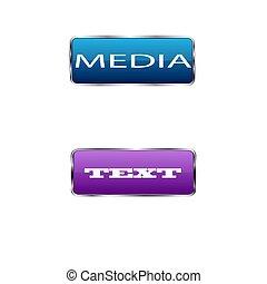 buttons., colorato, illustrazione, vettore, quadrato, fondo, bianco