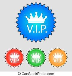 buttons., set, colorato, molto, person., simbolo., segno, appartenenza, vip, vettore, icon., importante