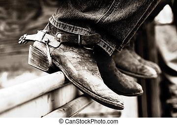 (bw), cowboy, &, stivali, rodeo, incitamenti