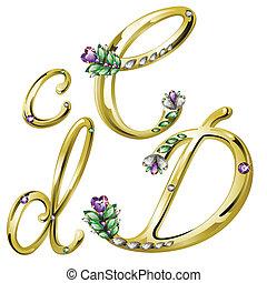 c, alfabeto, lettere, gioielleria, oro