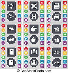 c, altoparlante, colorato, cesto, stampante, bottoni, tuo, grande, bulbo, quaderno, set, icona, mano, appartamento, luce, simbolo., trumped, design.