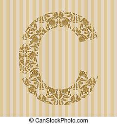 c, font., lettera, floreale