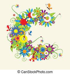 c, lettera, design., floreale