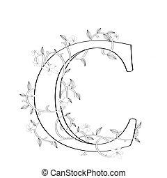 c, lettera, floreale, schizzo