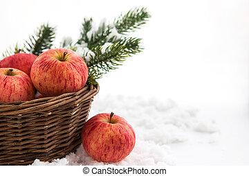 c, ?omposition, mele, ramo, cesto, natale, rosso