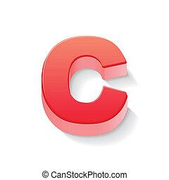 c, rosso, lettera, 3d