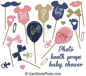 cabina, bacchetta, set, foto, genitori, bambino, photobooth, doccia, decorazione, corpo, disegno, puntelli, appiccicare, ragazzo, neonato, capezzolo, elementi, ragazza