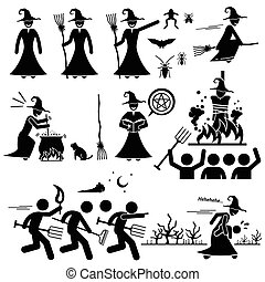 caccia, strega, male, stregoneria