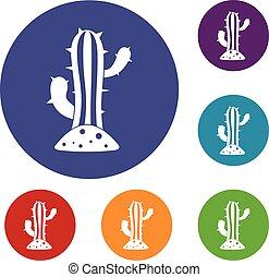 cactus, set, icone
