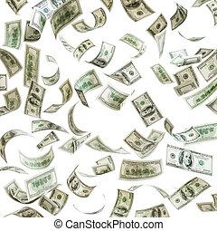 cadere, cento dollaro, soldi, effetti