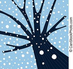cadere, inverno albero, neve