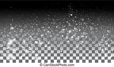 cadere, neve, fondo, trasparente