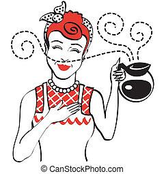 caffè, 1950s, vendemmia, vaso, retro, mamma