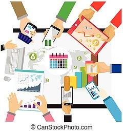 caffè, appartamento, tavoletta, ufficio affari, tazza, mano, tavola., persone, vettore, posto lavoro, oggetti, vario, carte, fondo, disegno digital, bianco, smartphone, illustration.